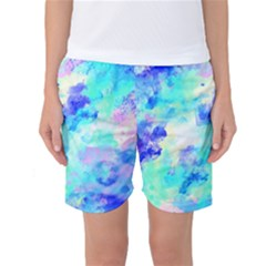 Transparent Colorful Rainbow Blue Paint Sky Women s Basketball Shorts