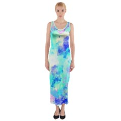Transparent Colorful Rainbow Blue Paint Sky Fitted Maxi Dress