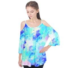 Transparent Colorful Rainbow Blue Paint Sky Flutter Tees