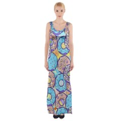 Donuts Pattern Maxi Thigh Split Dress
