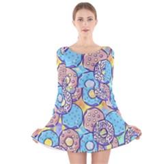 Donuts Pattern Long Sleeve Velvet Skater Dress