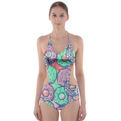 Donuts Pattern Cut Out One Piece Swimsuit