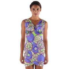 Donuts Pattern Wrap Front Bodycon Dress