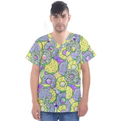 Donuts Pattern Men s V Neck Scrub Top