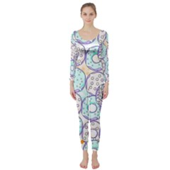 Donuts Pattern Long Sleeve Catsuit