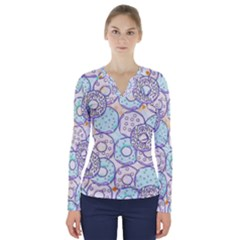 Donuts Pattern V Neck Long Sleeve Top
