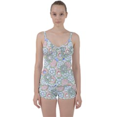 Donuts Pattern Tie Front Two Piece Tankini