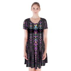 Rainbow Asteroid Pearls In The Wonderful Atmosphere Short Sleeve V Neck Flare Dress