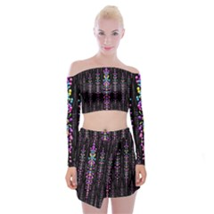 Rainbow Asteroid Pearls In The Wonderful Atmosphere Off Shoulder Top With Skirt Set