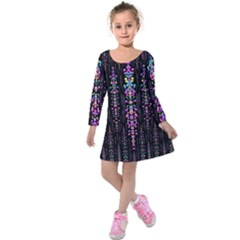 Rainbow Asteroid Pearls In The Wonderful Atmosphere Kids  Long Sleeve Velvet Dress
