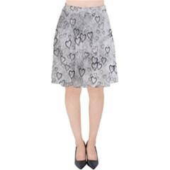 Heart Pattern Velvet High Waist Skirt