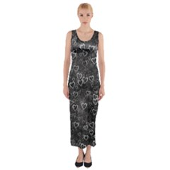 Heart Pattern Fitted Maxi Dress