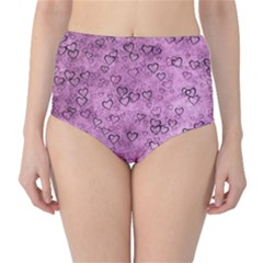 Heart Pattern High Waist Bikini Bottoms