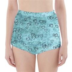 Heart Pattern High Waisted Bikini Bottoms