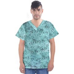 Heart Pattern Men s V Neck Scrub Top