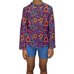 70s Pattern Kids  Long Sleeve Swimwear