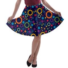 70s Pattern A Line Skater Skirt