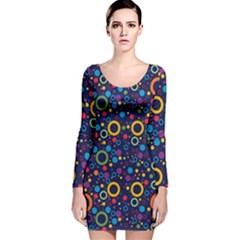 70s Pattern Long Sleeve Velvet Bodycon Dress