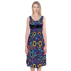 70s Pattern Midi Sleeveless Dress
