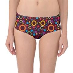 70s Pattern Mid Waist Bikini Bottoms