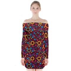 70s Pattern Long Sleeve Off Shoulder Dress