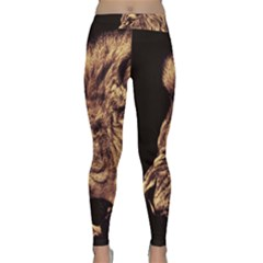 Angry Male Lion Gold Classic Yoga Leggings