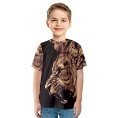 Angry Male Lion Gold Kids  Sport Mesh Tee