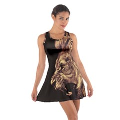 Angry Male Lion Gold Cotton Racerback Dress