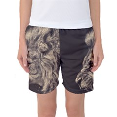 Angry Male Lion Women s Basketball Shorts
