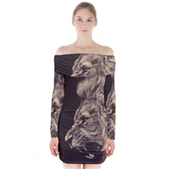 Angry Male Lion Long Sleeve Off Shoulder Dress