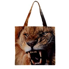 Male Lion Angry Zipper Grocery Tote Bag