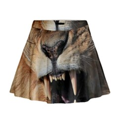 Male Lion Angry Mini Flare Skirt