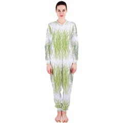Weeds Grass Green Yellow Leaf Onepiece Jumpsuit (ladies)