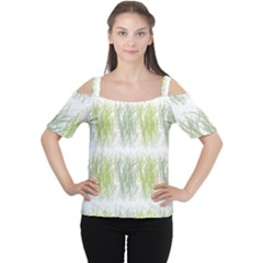 Weeds Grass Green Yellow Leaf Cutout Shoulder Tee