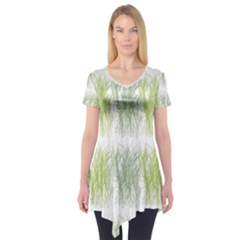 Weeds Grass Green Yellow Leaf Short Sleeve Tunic