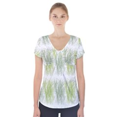 Weeds Grass Green Yellow Leaf Short Sleeve Front Detail Top