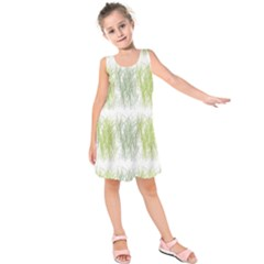 Weeds Grass Green Yellow Leaf Kids  Sleeveless Dress