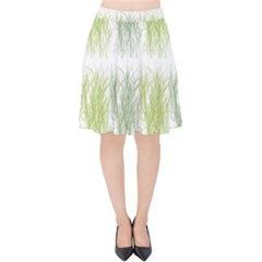 Weeds Grass Green Yellow Leaf Velvet High Waist Skirt
