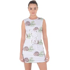 Pinecone Pattern Lace Up Front Bodycon Dress