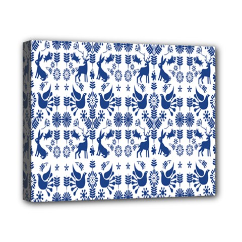 Rabbits Deer Birds Fish Flowers Floral Star Blue White Sexy Animals Canvas 10  X 8