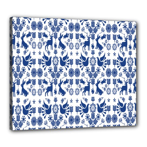 Rabbits Deer Birds Fish Flowers Floral Star Blue White Sexy Animals Canvas 24  X 20