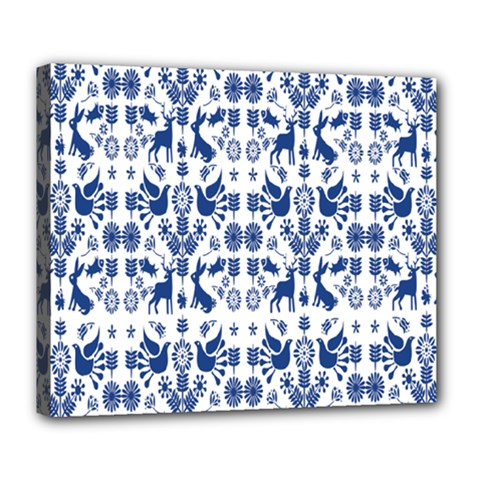 Rabbits Deer Birds Fish Flowers Floral Star Blue White Sexy Animals Deluxe Canvas 24  X 20