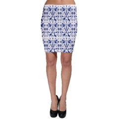Rabbits Deer Birds Fish Flowers Floral Star Blue White Sexy Animals Bodycon Skirt