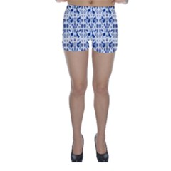 Rabbits Deer Birds Fish Flowers Floral Star Blue White Sexy Animals Skinny Shorts
