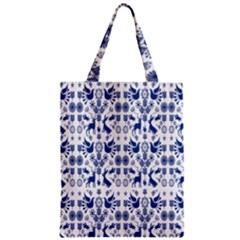 Rabbits Deer Birds Fish Flowers Floral Star Blue White Sexy Animals Zipper Classic Tote Bag