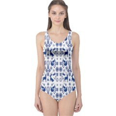 Rabbits Deer Birds Fish Flowers Floral Star Blue White Sexy Animals One Piece Swimsuit