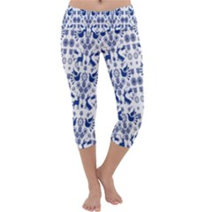 Rabbits Deer Birds Fish Flowers Floral Star Blue White Sexy Animals Capri Yoga Leggings