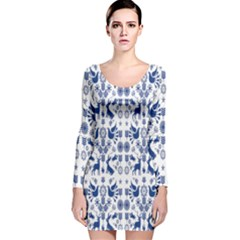 Rabbits Deer Birds Fish Flowers Floral Star Blue White Sexy Animals Long Sleeve Velvet Bodycon Dress