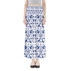 Rabbits Deer Birds Fish Flowers Floral Star Blue White Sexy Animals Full Length Maxi Skirt