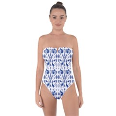 Rabbits Deer Birds Fish Flowers Floral Star Blue White Sexy Animals Tie Back One Piece Swimsuit